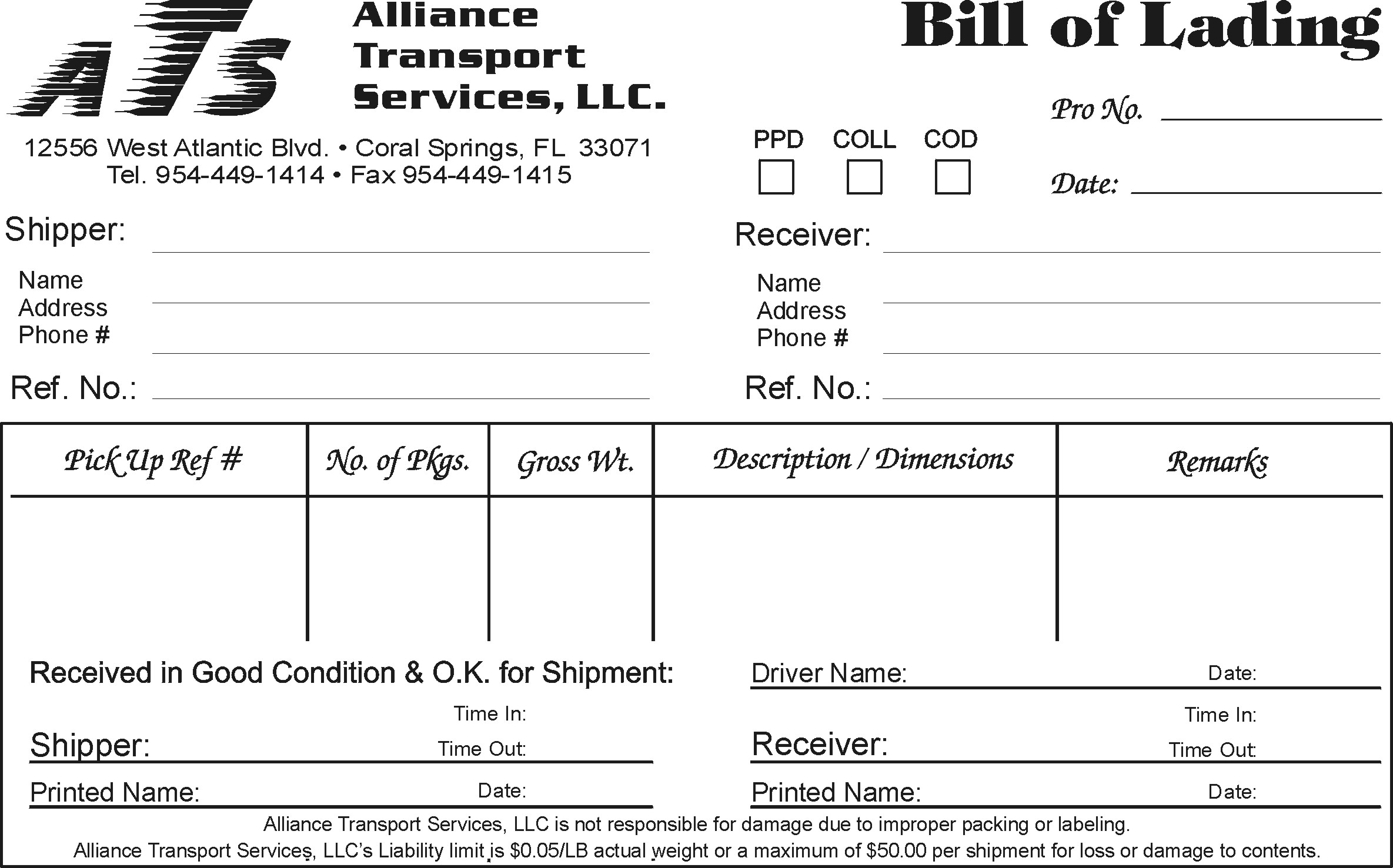 printable bill of lading