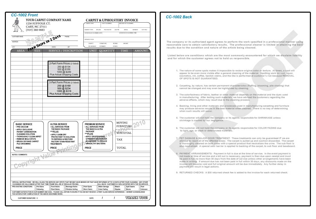 Carpet Cleaning Invoices * Invoice Template Ideas