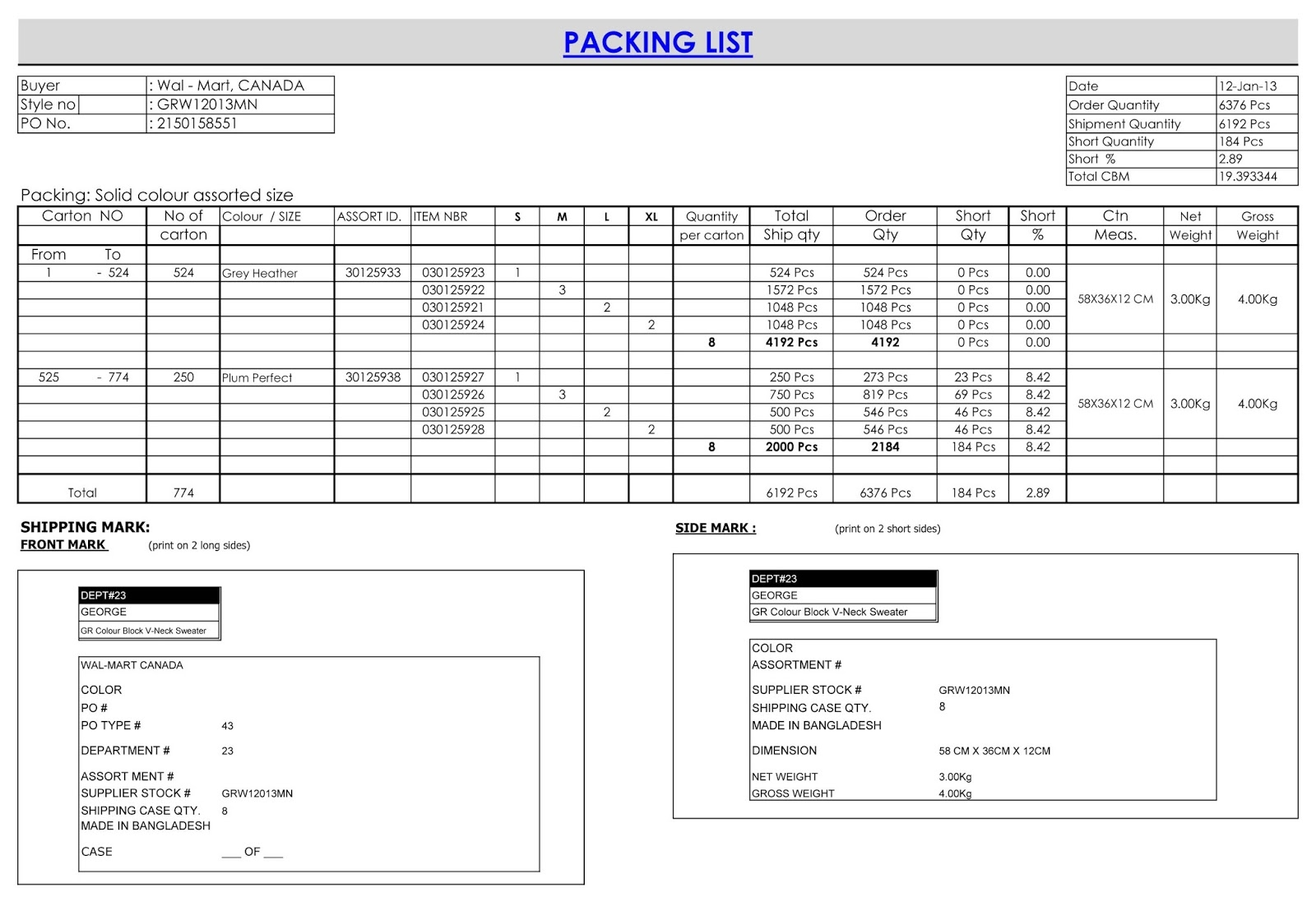 Contoh Invoice Packing List * Invoice Template Ideas