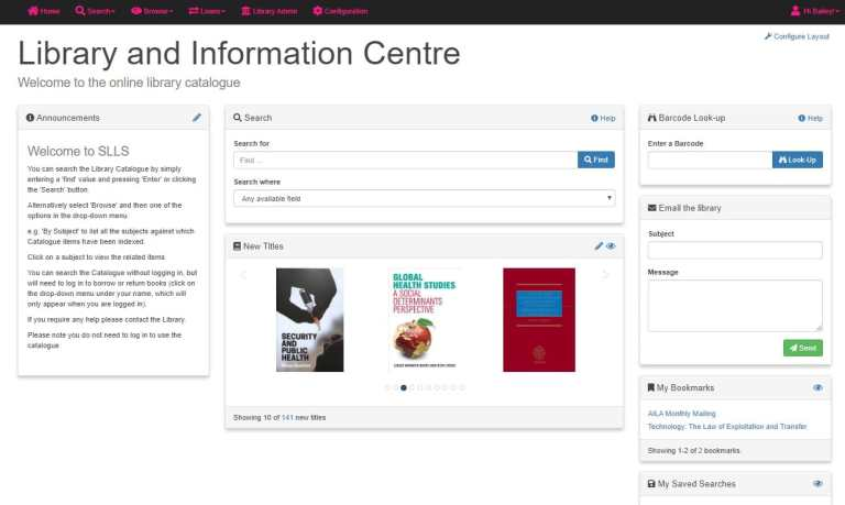 Screenshot of Simple Little Library System OPAC dashboard