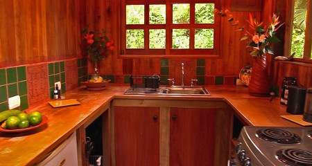Photograph of the kitchen in the guest house on Refugio de Los Angeles.