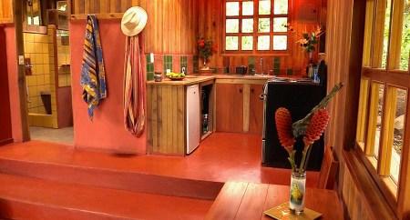 Photograph of the kitchen in the casita at Refugio de Los Angeles.