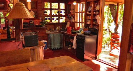 Photograph of the kitchen and dining area of the main house at Refugio de Los Angeles.