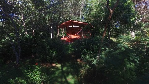 Photograph of a small cabin nestled in the trees