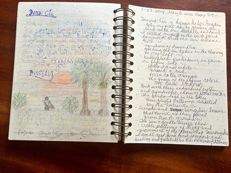 Bucky Jentzen, an 11 year old, adds a little art to his Refugio de Los Angeles guestbook entry