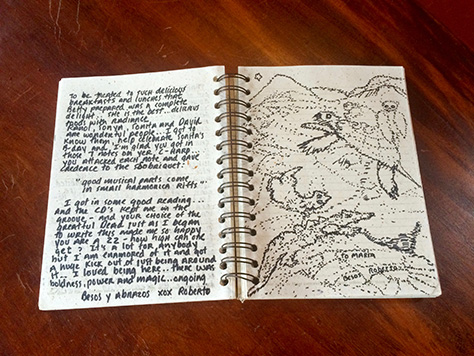 Roberto Bernstein's entry in the Refugio de Los Angeles guestbook, including art
