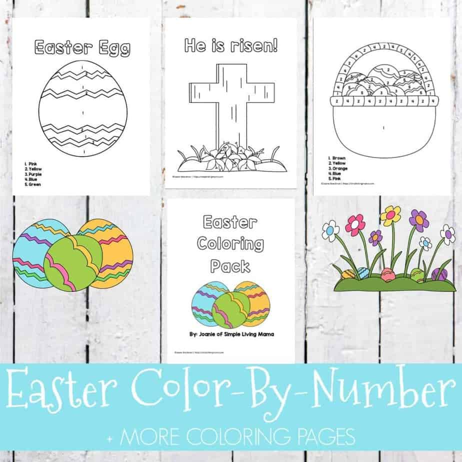 Easter Color By Number And Coloring Pages