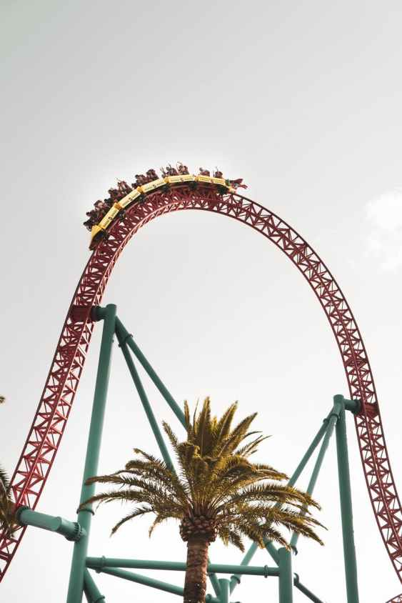 high scary roller coaster against gray sky