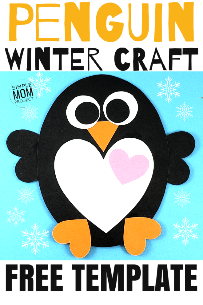 See this post for a FREE printable template to make your own winter Penguin! This simple DIY penguin winter is an easy craft for toddlers, big kids and adults to make. Great for classroom winter crafts and art projects. #WinterCrafts #PenguinCrafts #ChristmasCards