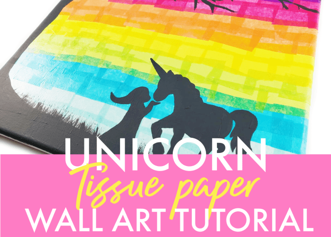 Super easy DIY tissue paper unicorn craft any girl would love in her room! Use the FREE printable template and follow along with the tutorial to make your own unicorn wall art!