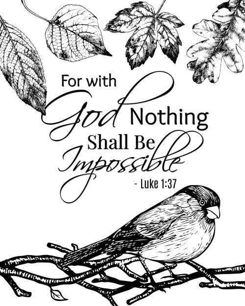 Free Printable Bible Verse Coloring Page - For with God, nothing shall be impossible