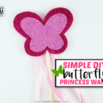 Hey mom! Learn how to make an awesome DIY butterfly fairy wand for your little princess! Check out the free printable butterfly wand template for a cute summer craft! Great for dress up playtime or for your little girl's next birthday party!
