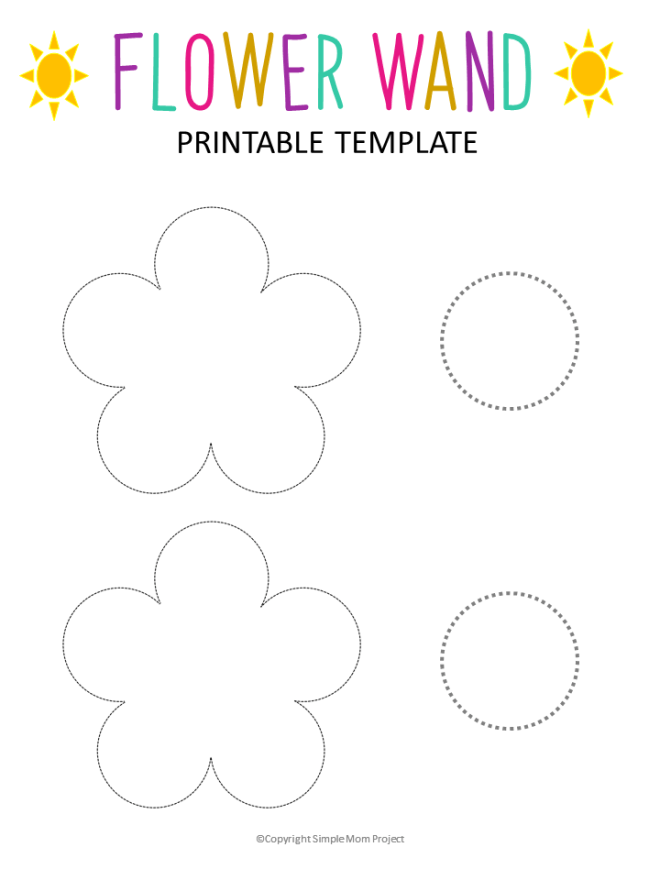 Calling all toddlers and kids! Learn how to make this easy and fun princess wand flower craft! With a few supplies and this FREE flower printable template, your next flower art activy is sure to bloom! They also make amazing party favors for a fairy theme birthday!