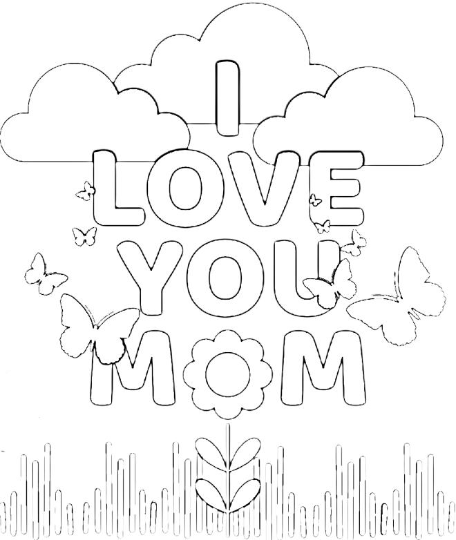 I love you Mom Coloring Page - Free Printable