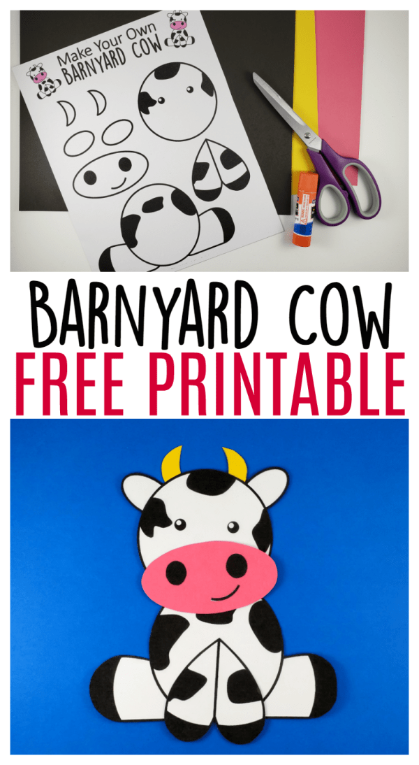 Use the FREE printable cow template to make this super cute and easy farm theme cow craft! This barnyard cow great for preschool toddlers and big kids! #FarmAnimals #FarmCrafts #FarmAnimalCrafts #CowCrafts