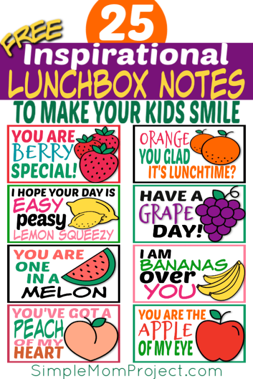 FREE Printable Lunchbox notes for kids with cute sayings