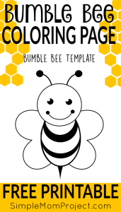 printable bee template coloring page
