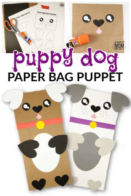 Easy DiY Puppy Dog Paper Bag Puppet with Free Printable Template