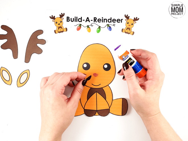 Easy Printable Reindeer Craft Ornament for kids, preschoolers and toddlers