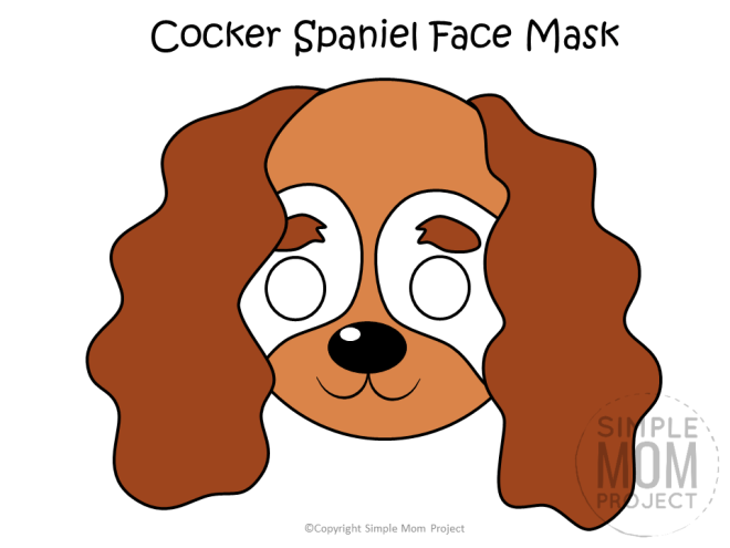 Free Printable Cocker Spaniel Dog Face Mask Colored