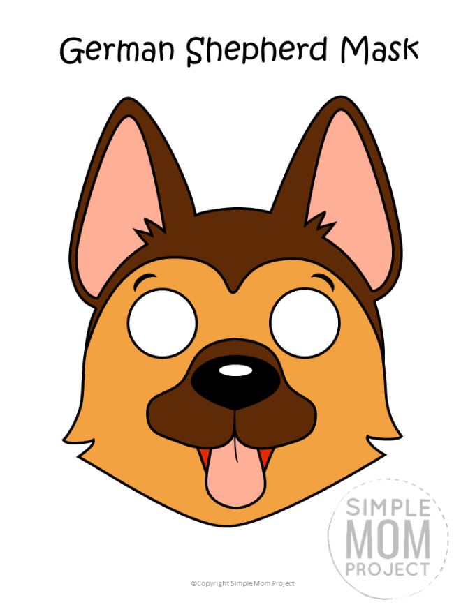 Free Printable German Shepherd Dog Face Mask Colored