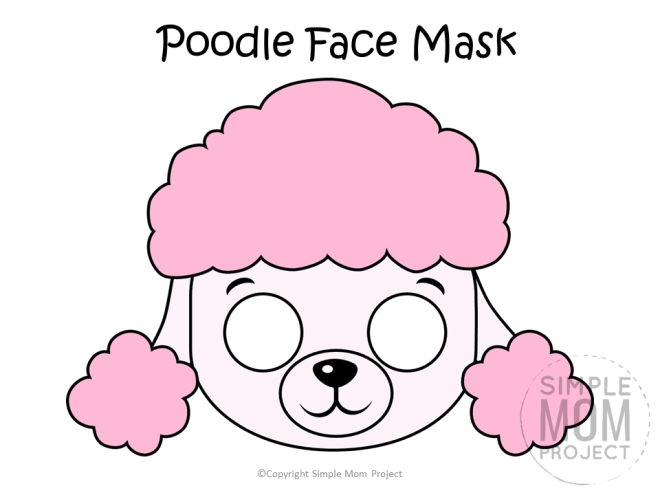 Free Printable Poodle Dog Face Mask Colored
