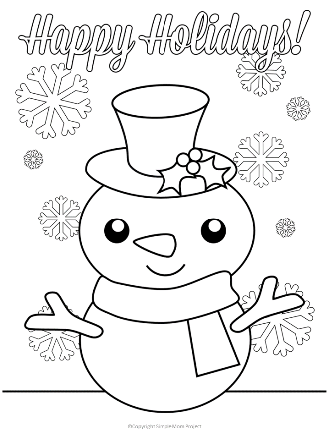 Snowman Winter Coloring Page Happy Holidays