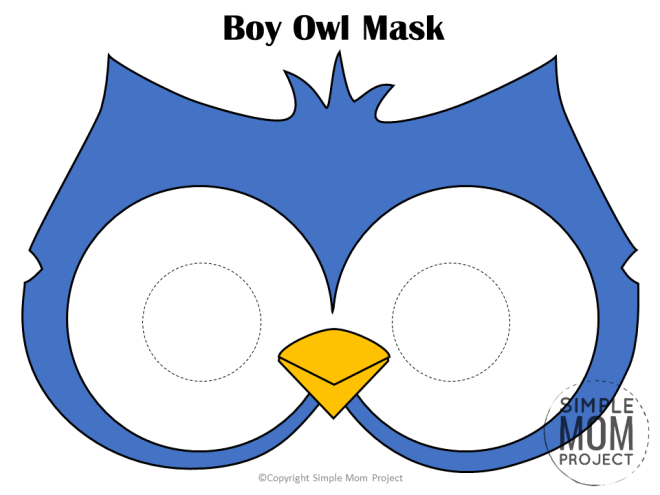 Free Printable Boy Owl Mask Template for Kids