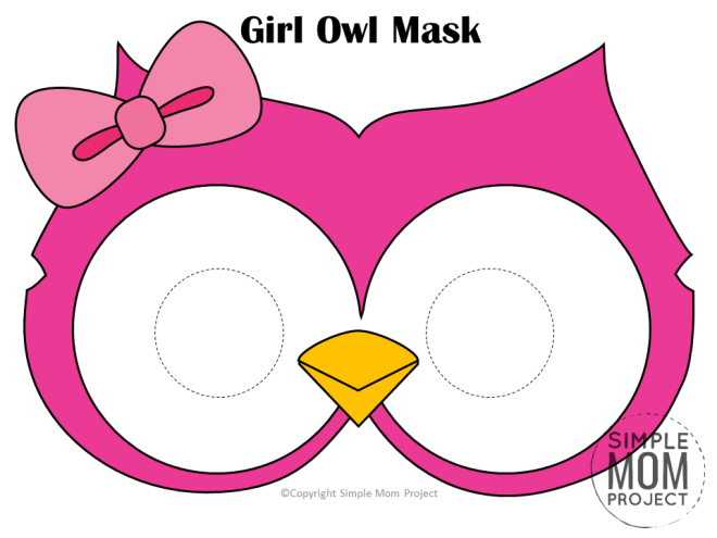 Free Printable Girl Owl Mask Template for Kids