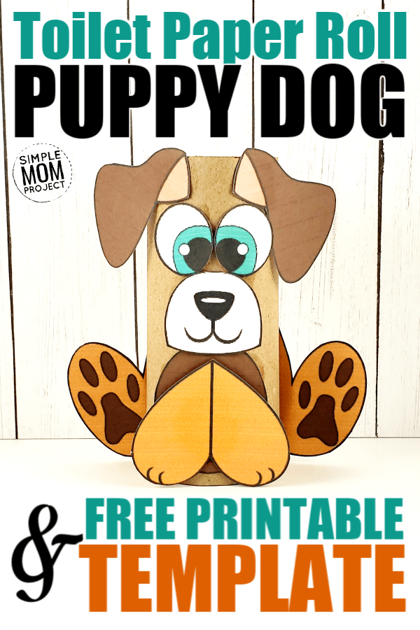 Looking for a fun craft idea to do with those cardboard tubes we call toilet paper rolls? Click now to print a FREE dog template to make an adorable toilet paper roll puppy dog! He is easy and perfect to do in the classroom with your kindergarten kids or at home as a weekend diy project with your toddlers! #toiletpaperrollcrafts #toiletpapercrafts #dog #dogcrafts #dogtemplate #printablecrafts #SimpleMomProject