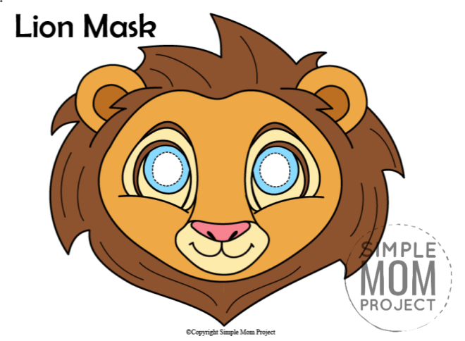 Printable Lion Mask Template for Kids Colored