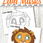 Paper plate? You don't need those for this fun and easy lion mask craft! Use these lion mask template as a coloring page activity with the black and white verison or print and play a masquerade party with our full colored one. Our printable lion mask template is perfect for kids of all ages but especially preschool and toddlers! #lioncrafts #lionmasks #lionmasktemplate #coloringpage #zooanimals #safarianimals