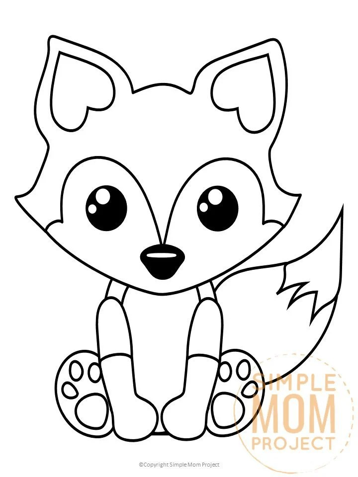 Fox Coloring Sheet : coloring, sheet, Printable, Coloring, Simple, Project