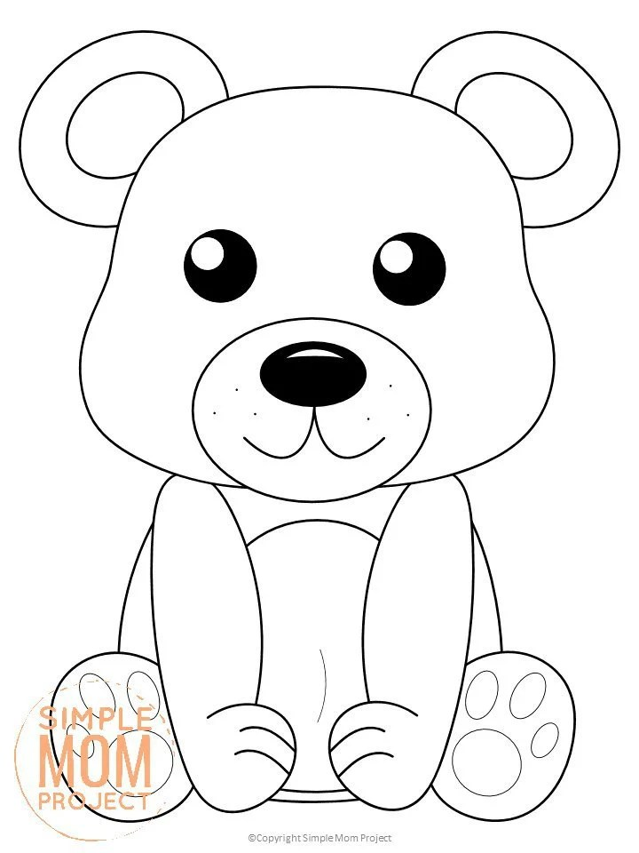 Free Printable Woodland Bear Coloring Page for Kids