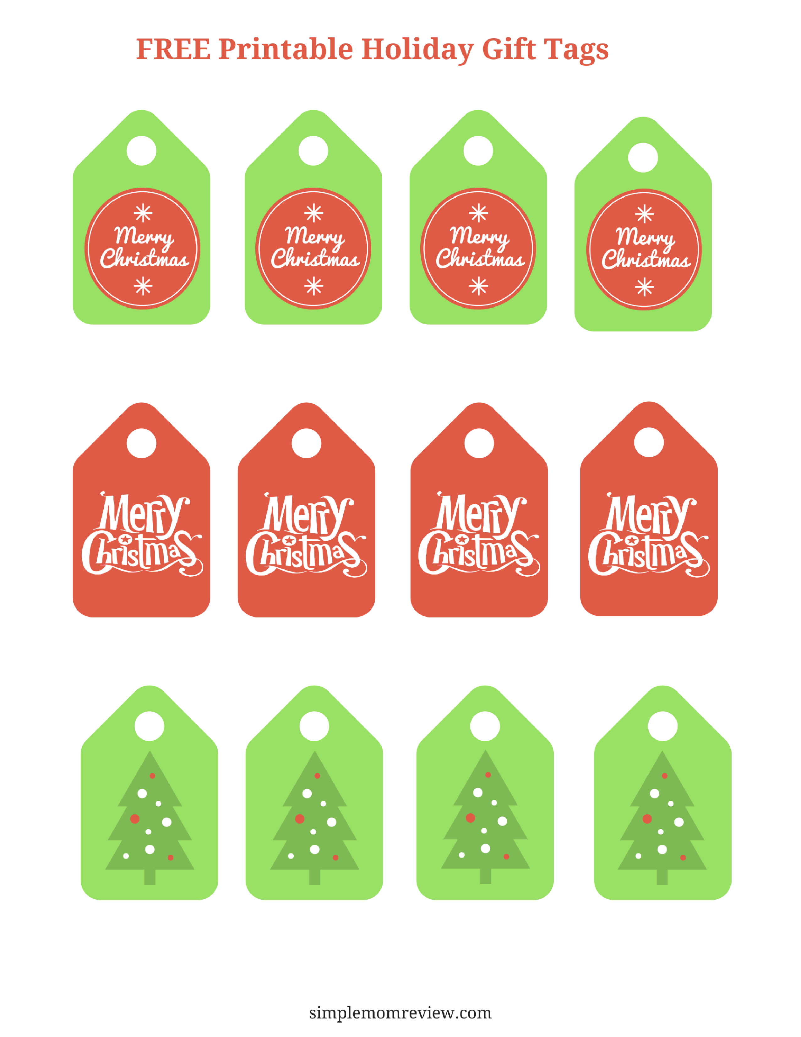 graphic about Merry Christmas Tags Free Printable called Merry Xmas Present Tags: Free of charge Printable - Very simple Mother Assessment