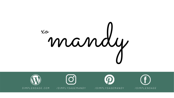 Signature for Mandy and Simple and Sage Social Media Icons
