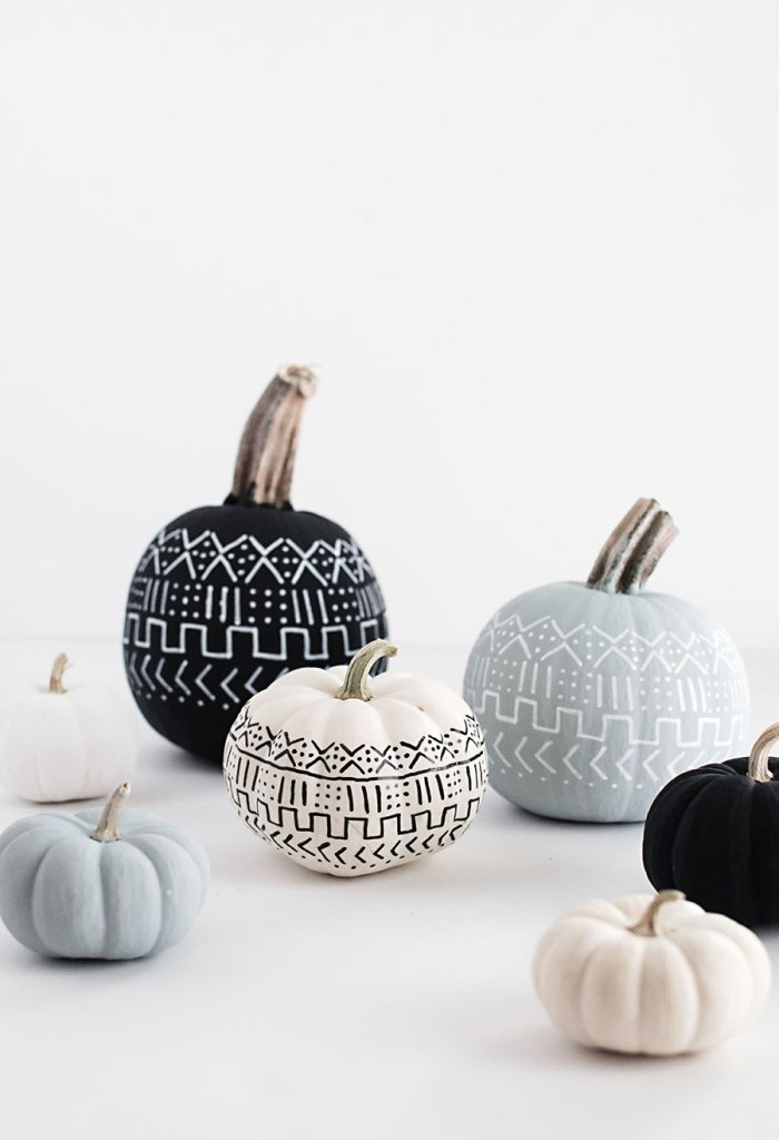 Minimalist Halloween Decor Mud Cloth Painted Pumpkins