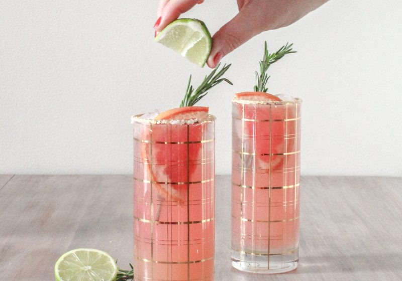Grapefruit Rosemary Paloma Cocktail Recipe from The Mobile Mixer