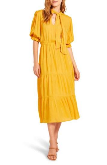 BB Dakota x Steve Madden Hidalgo Tie Front Crinkled Rayon Midi Dress