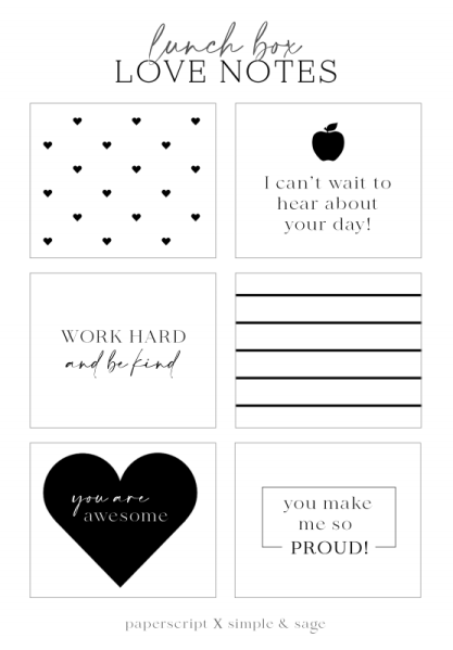 Six Free Printable Lunch Box Notes