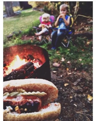 simple living family, weenie roast