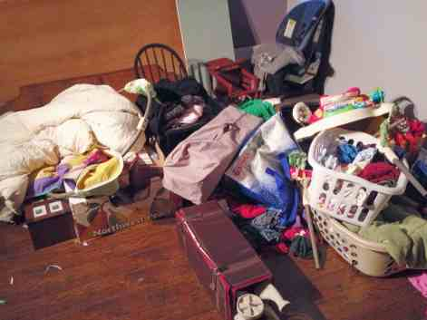 pile of clutter in spare room