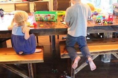 brother and sister lego play