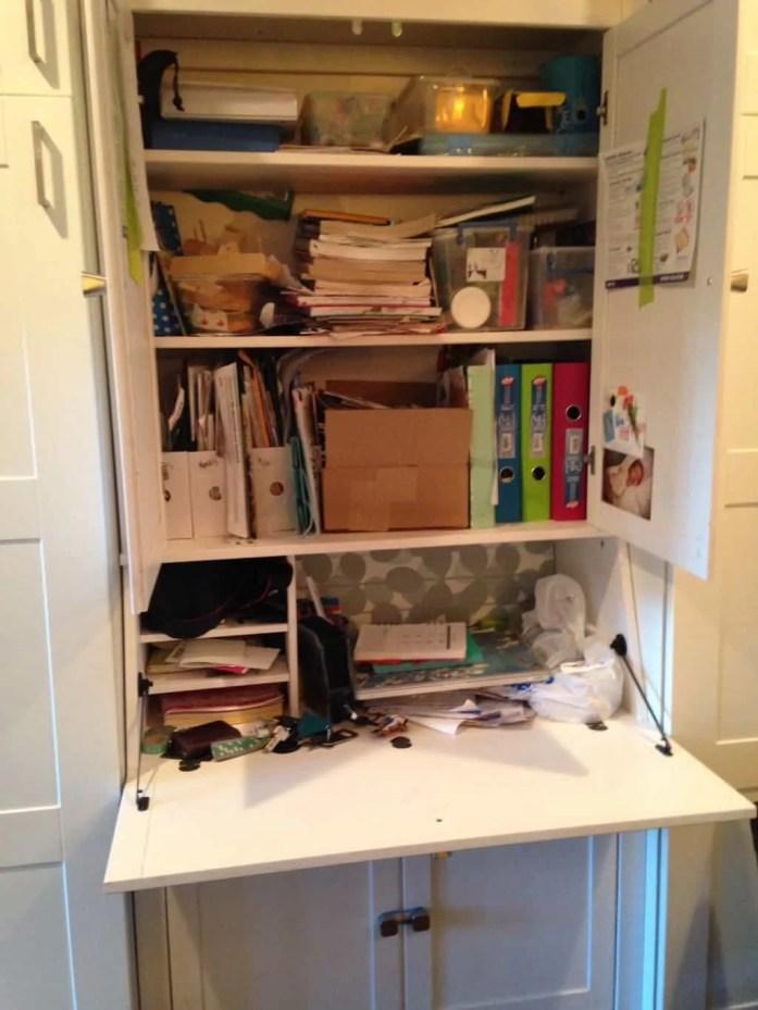 messy hutch desk