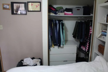after purging clothes dresser