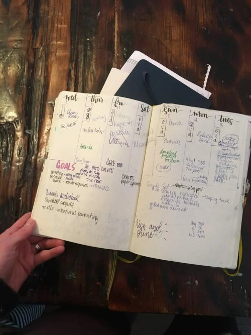 photo of a bullet journal with a weekly layout and various errands and notes written on it