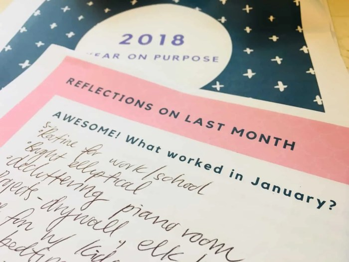 papers from a workbook called monthly reflection and direction, question on paper asks what went well this month?