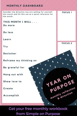 printable titled monthly dashboard. various questions to fill in for the month and keep handy. I will do more of, less of, learn, try, declutter, etc.