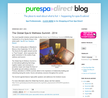 Pure Spa Direct Blog- The Global Spa & Wellness Summit - 2014