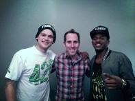 Chuck hanging out with MKTO and Joey from Kew Kids On The Block 2